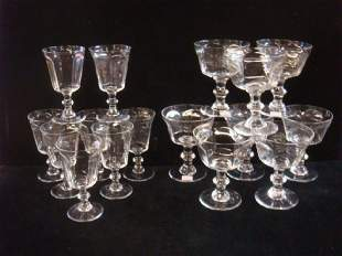 Sixteen LENNOX ANTIQUE Paneled Glass Goblets