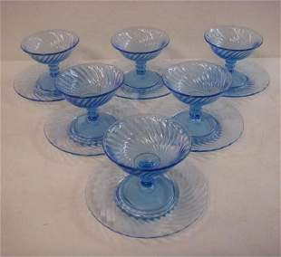 Six IMPERIAL Blue Swirl Glass Compotes Under plates