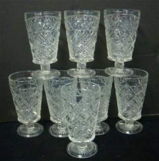 Eight BIG TOP Peanut Butter Pattern Glass Goblets