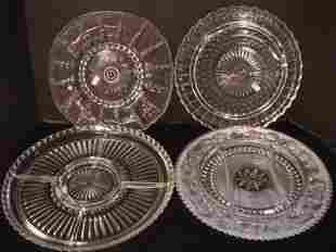 Lot of Four Depression Pressed Glass Trays