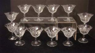 Twelve Morgantown MIKADO Sherbets W Paneled Bowls