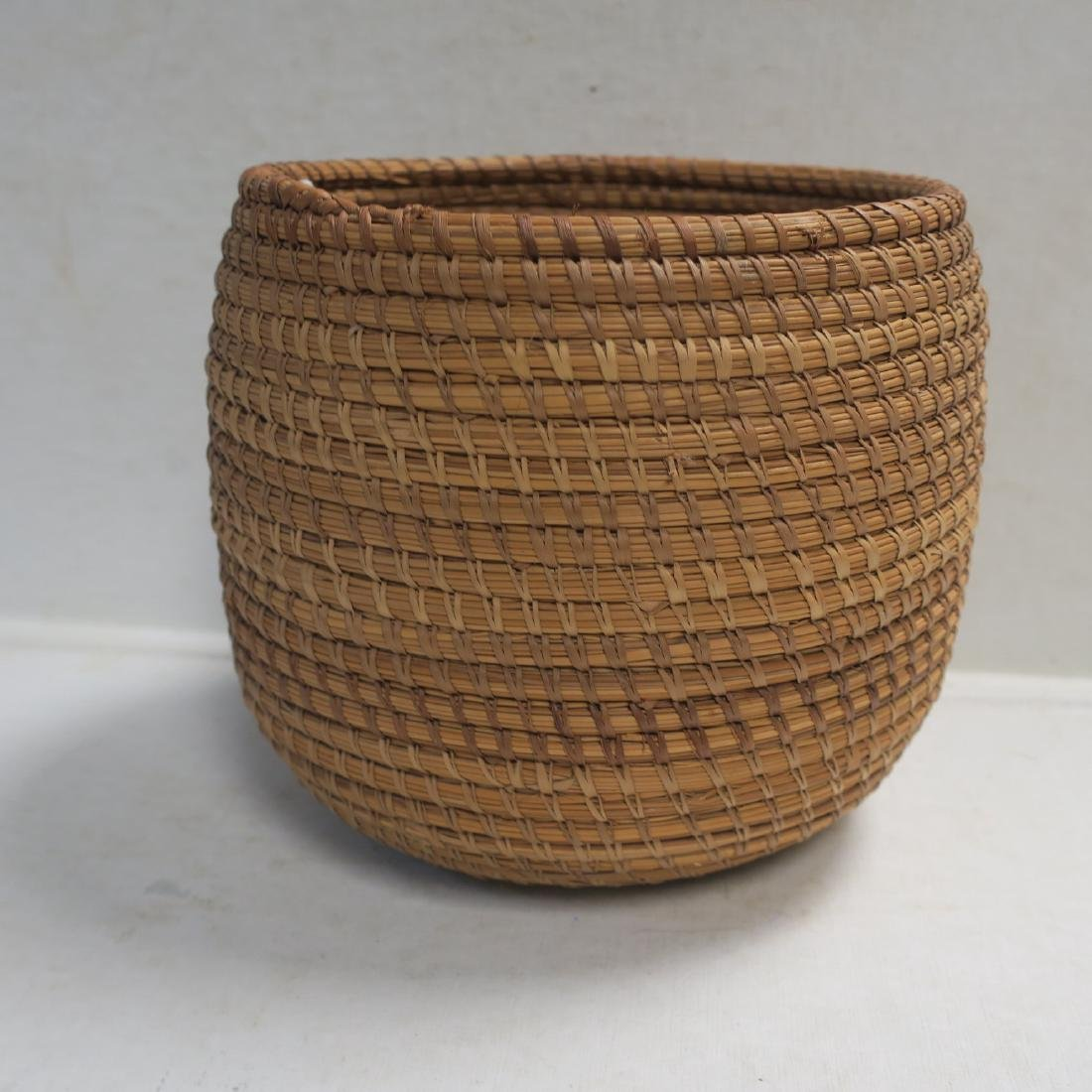 Handmade Natural Woven Coil Basket: