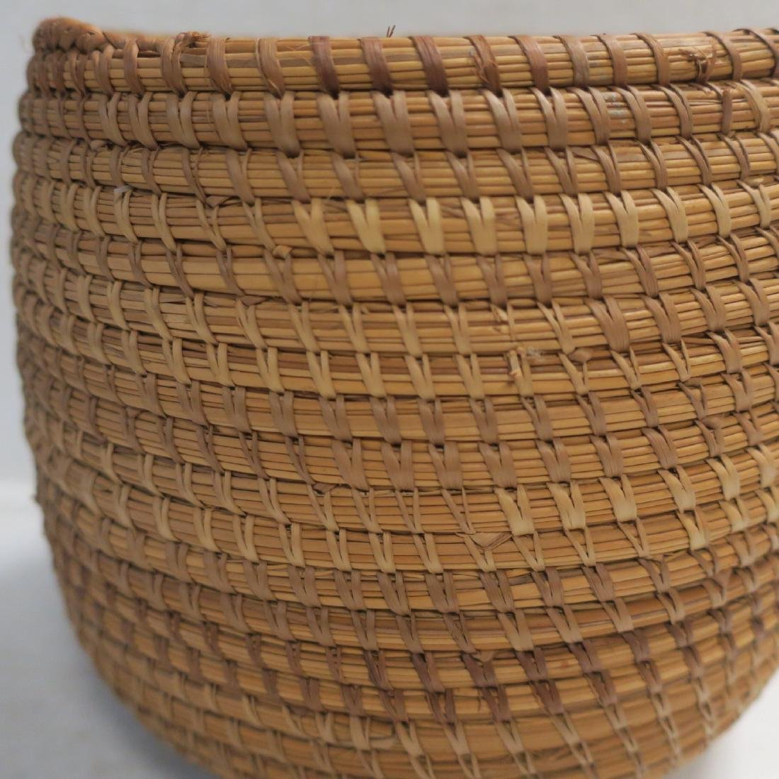 Handmade Natural Woven Coil Basket: - 2