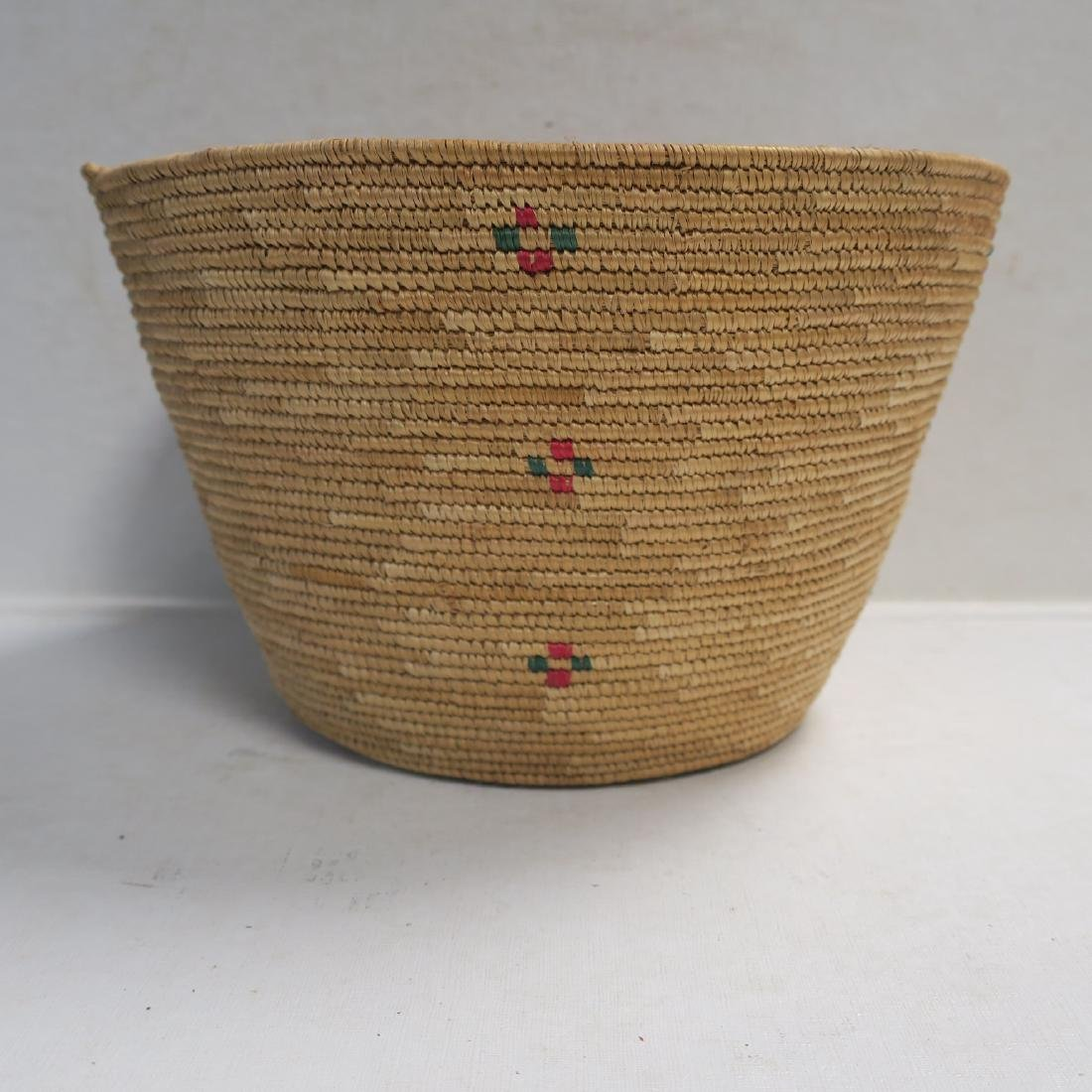 California Coiled Woven Bowl with Polychrome Crosses: