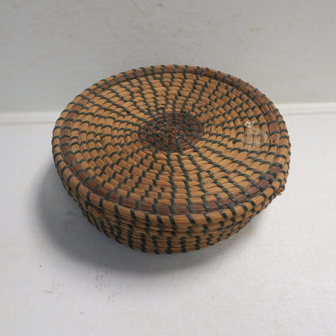 Hand Woven Closed Coil Sewing Basket: