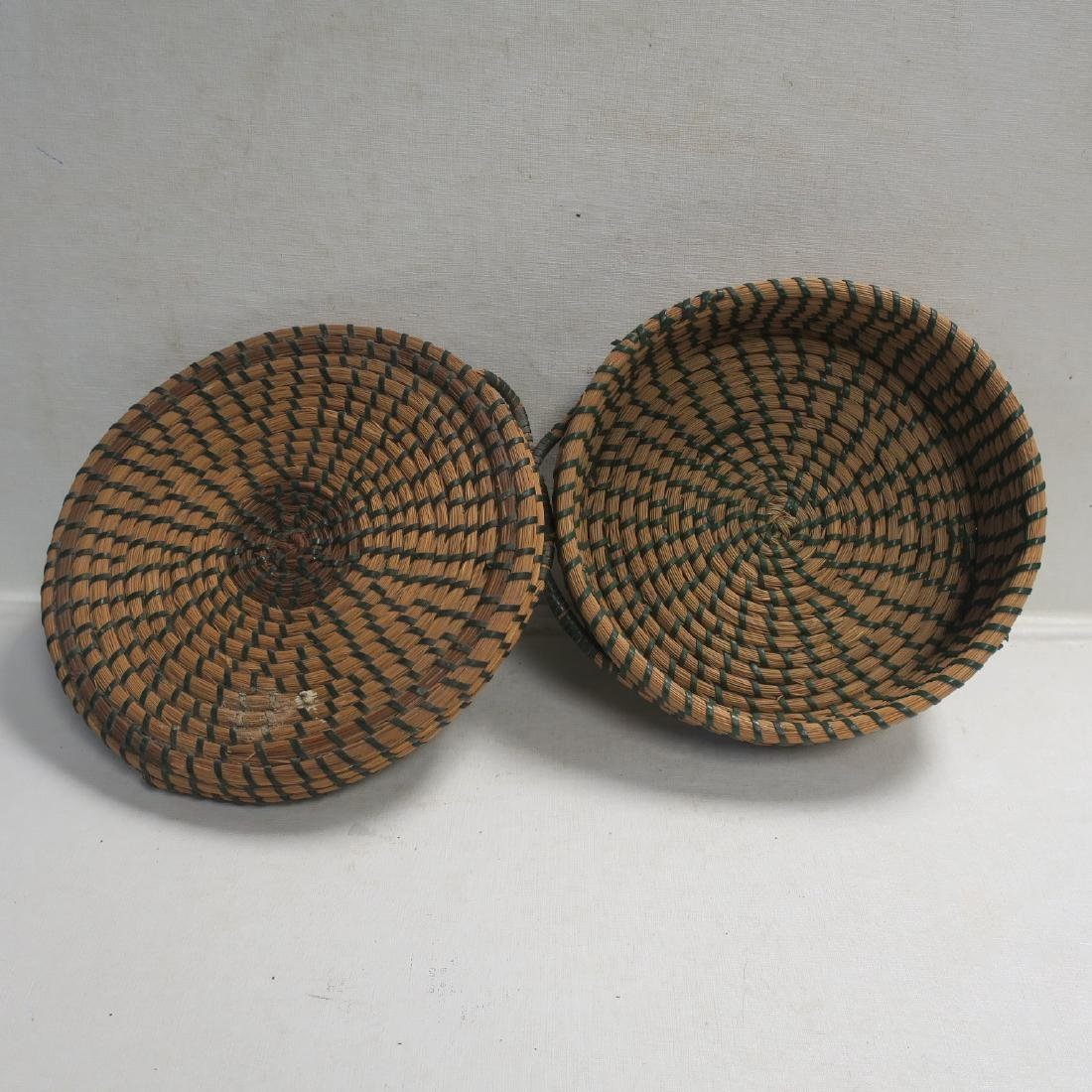 Hand Woven Closed Coil Sewing Basket: - 2