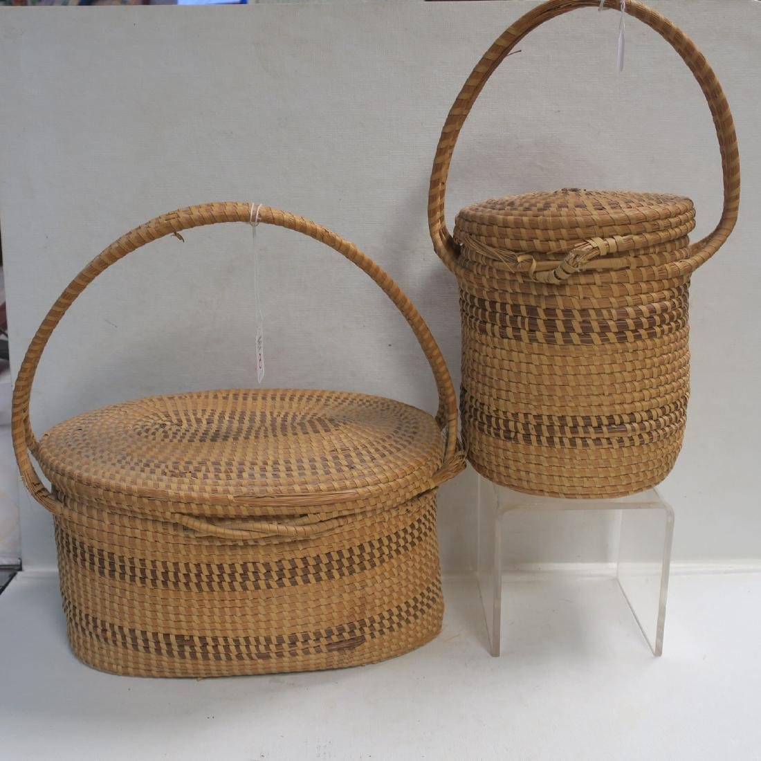 Two Handmade Coiled Sweet Grass Baskets: