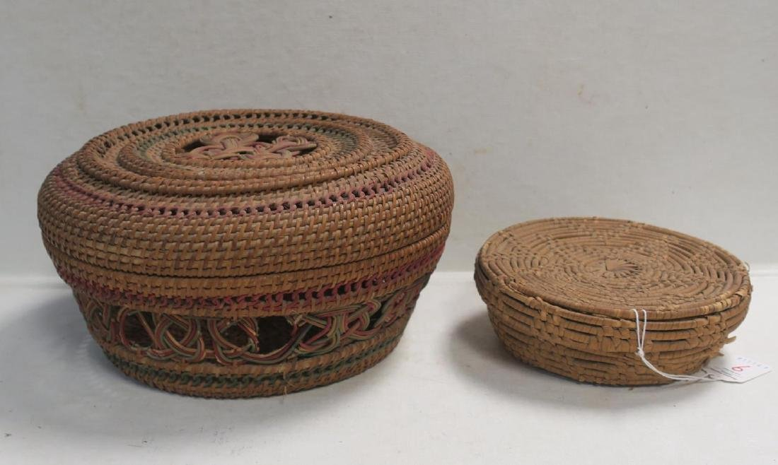 Two Handmade Coiled Lidded Baskets: