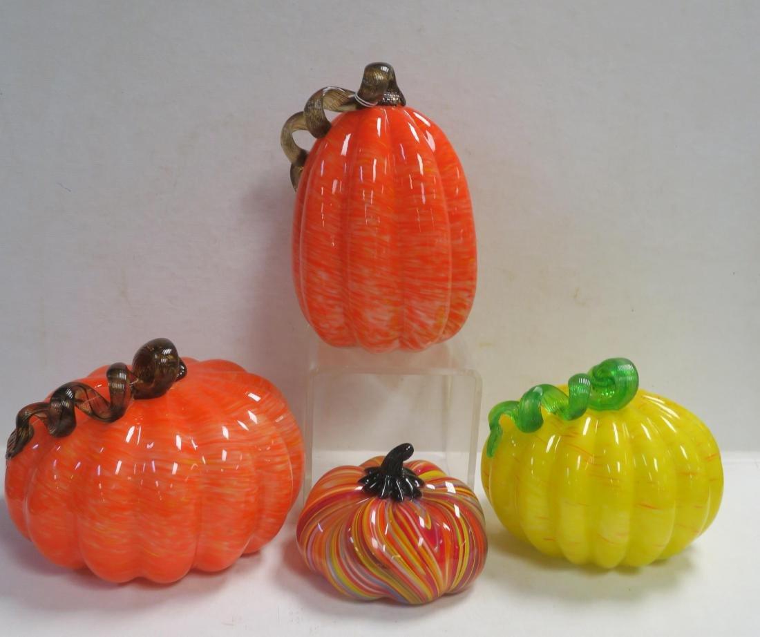 Four Murano Style Glass Pumpkins:
