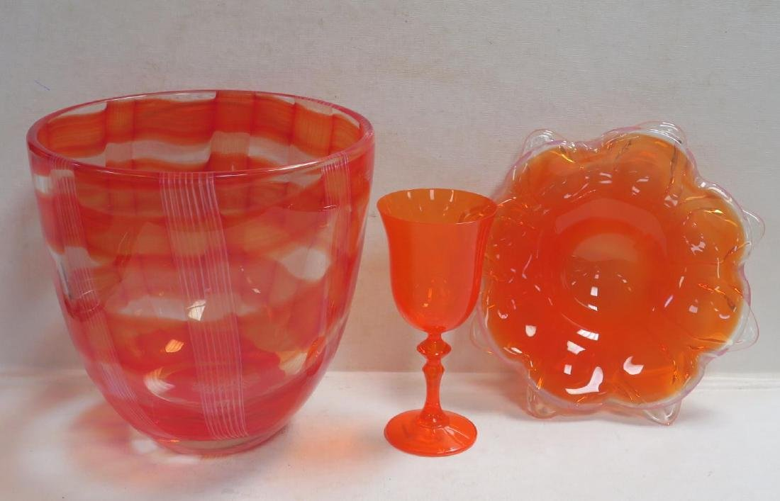Three Mid Century Orange Art Glass Pieces: