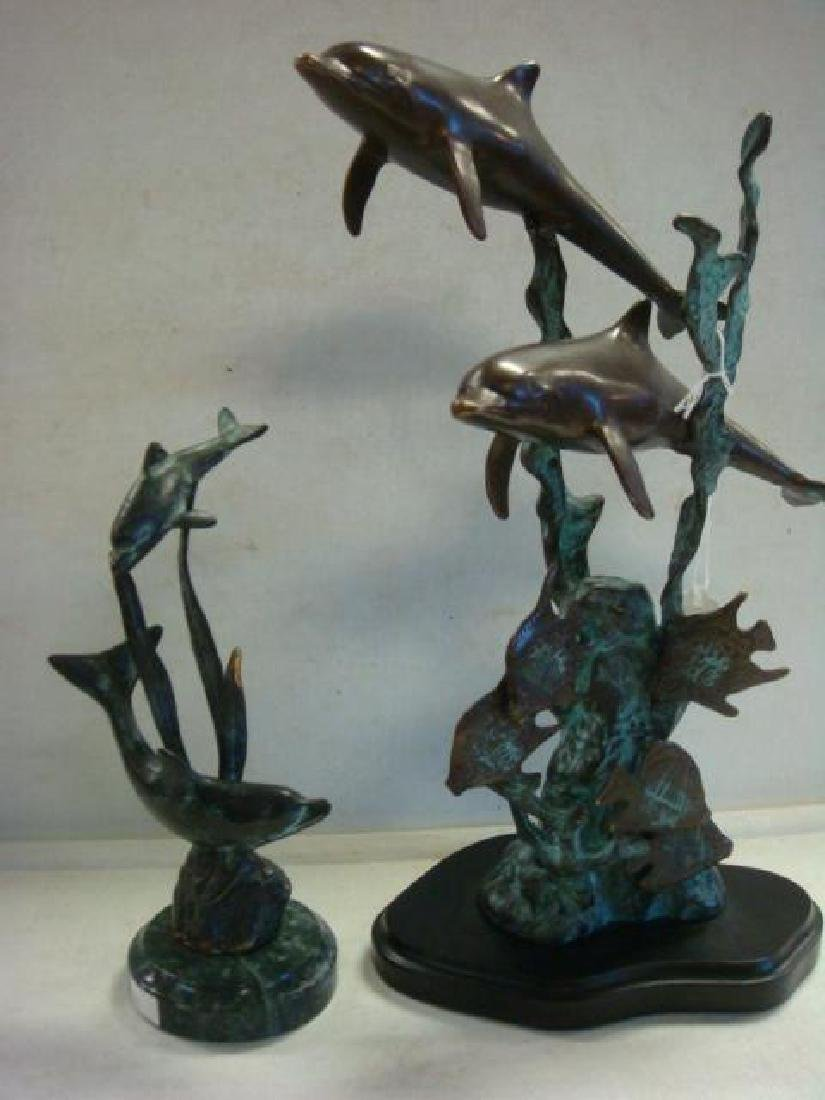 Two Bronze Dolphin Figural Groups: