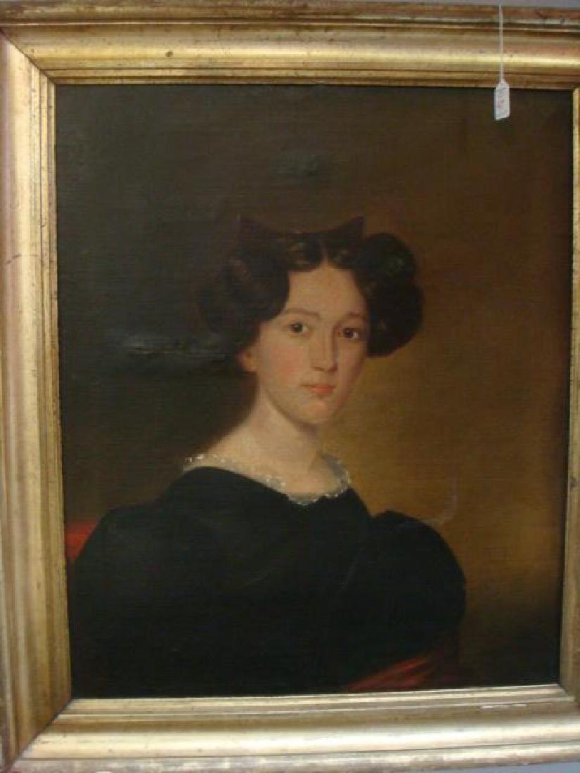 19thC Limner Oil on Canvas Portrait: