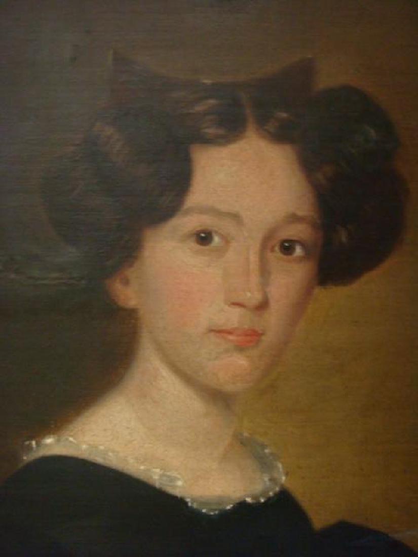 19thC Limner Oil on Canvas Portrait: - 2