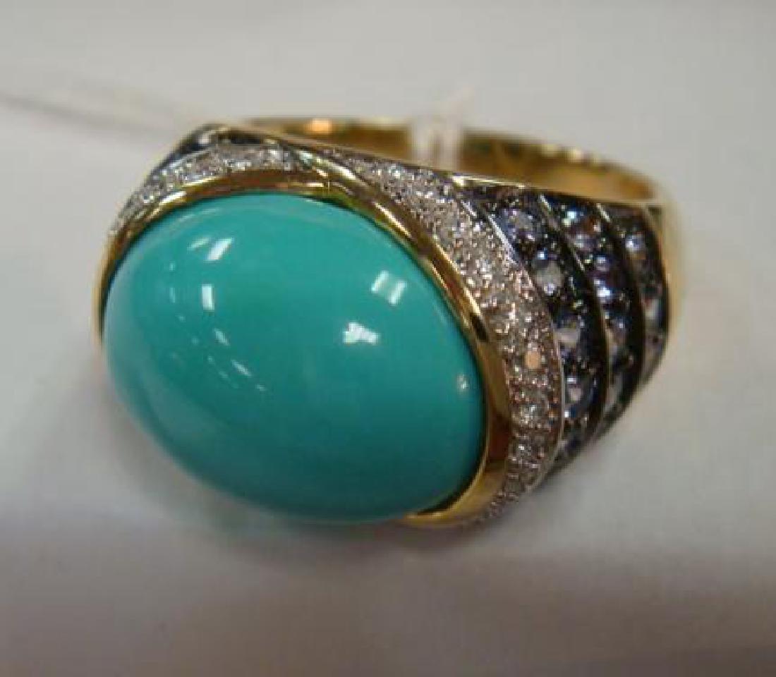 CARLO VIANI Turquoise Dome Ring: