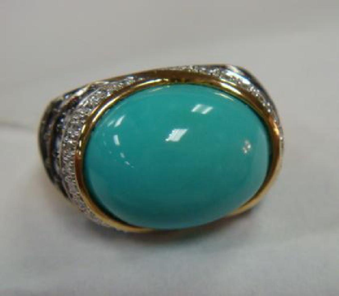CARLO VIANI Turquoise Dome Ring: - 3
