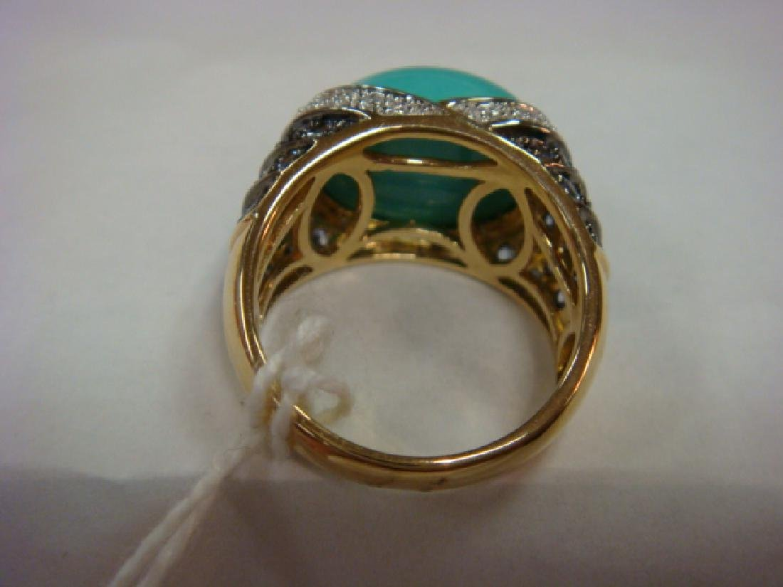 CARLO VIANI Turquoise Dome Ring: - 4