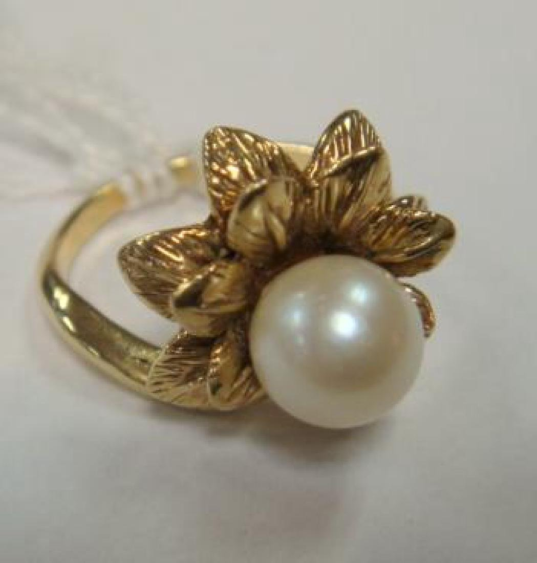 14KT Yellow Gold Pearl Ring:
