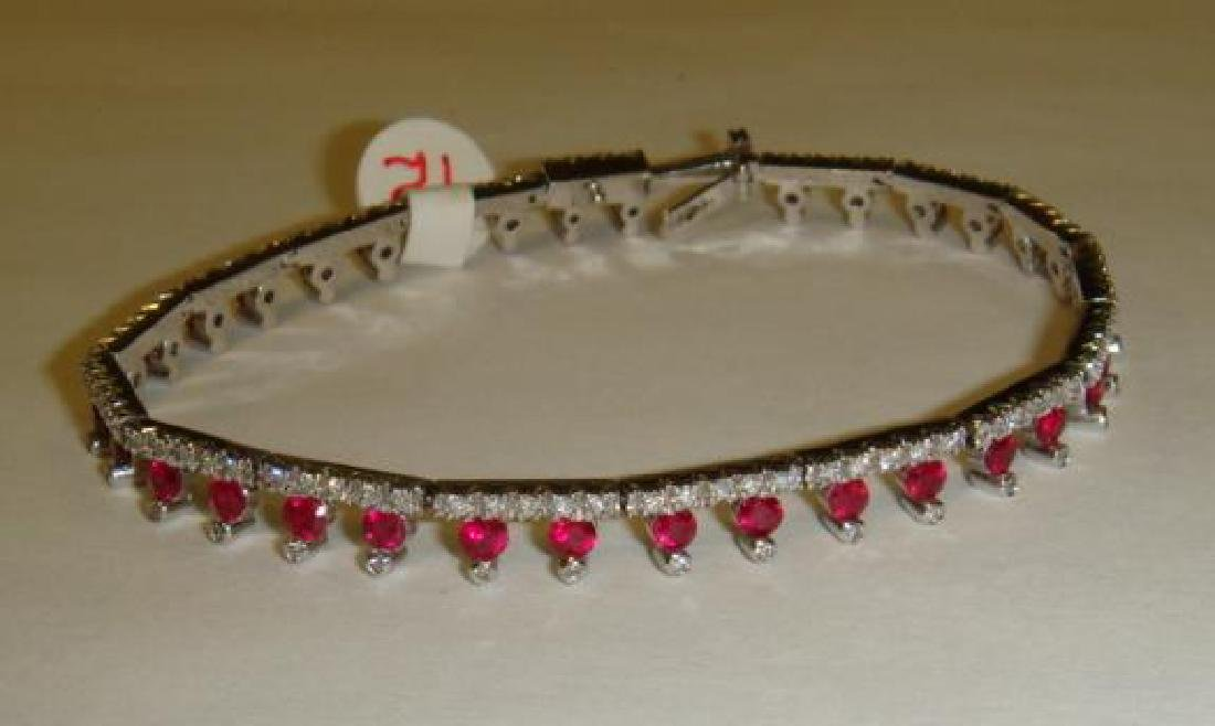 Ladies Ruby and Diamond 18KT White Gold Bracelet: