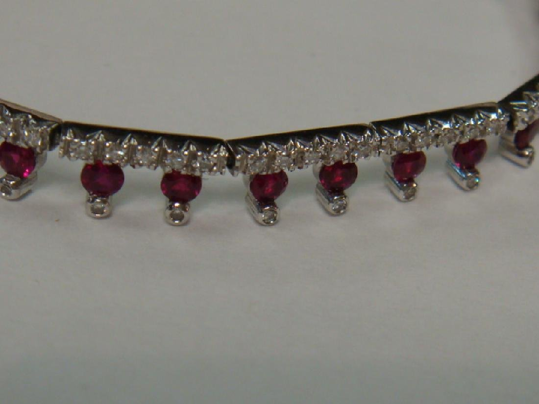 Ladies Ruby and Diamond 18KT White Gold Bracelet: - 2