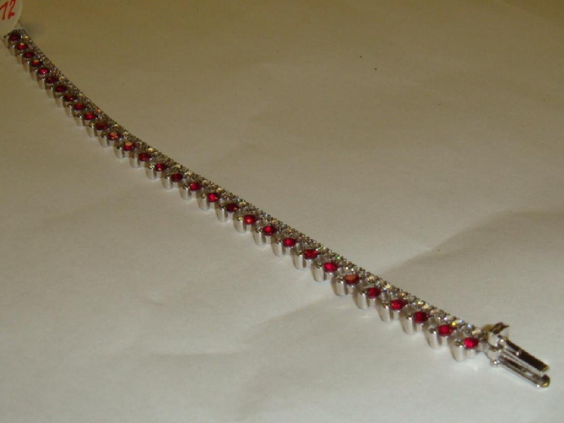 Ladies Ruby and Diamond 18KT White Gold Bracelet: - 5