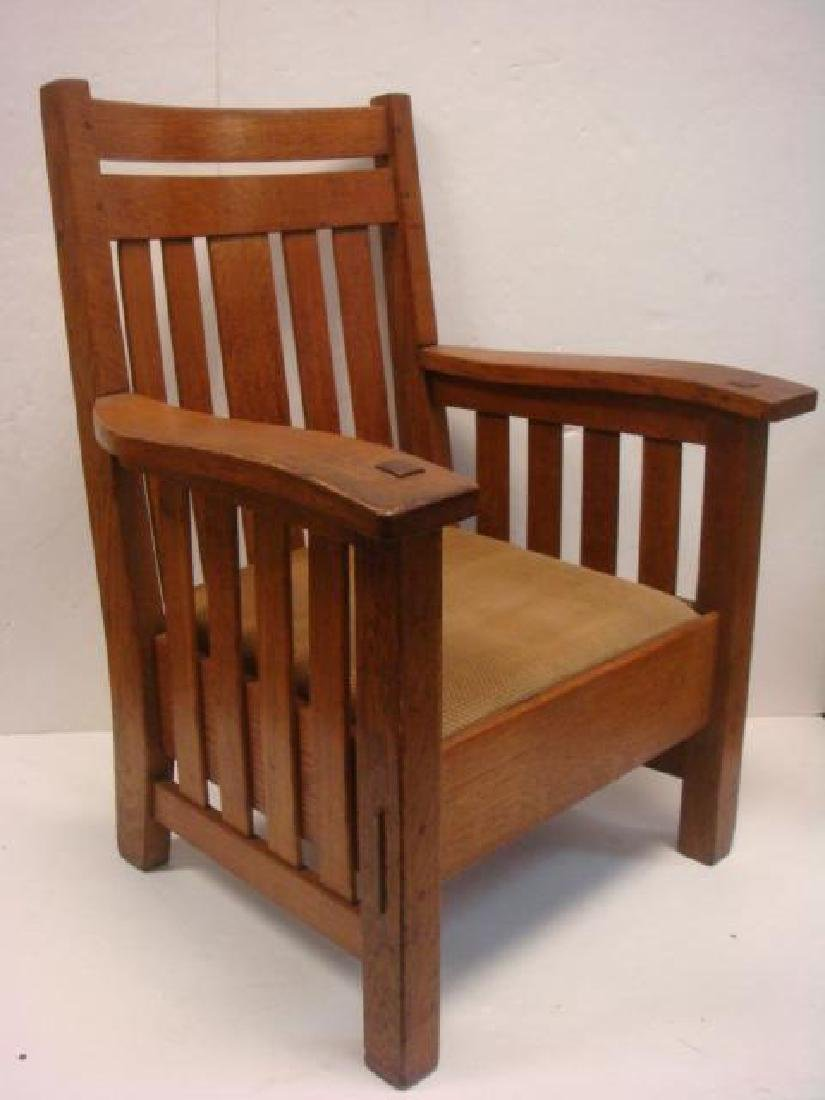 American Mission Oak Arm Chair, Leather Drop-in Seat: