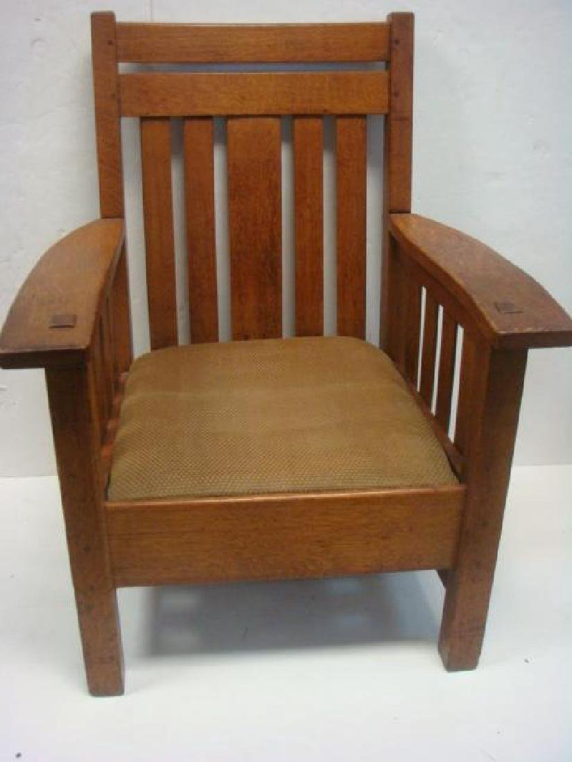 American Mission Oak Arm Chair, Leather Drop-in Seat: - 2