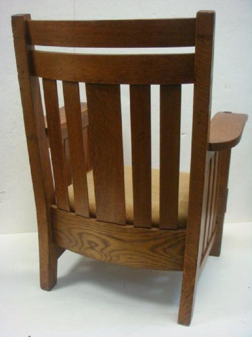 American Mission Oak Arm Chair, Leather Drop-in Seat: - 3