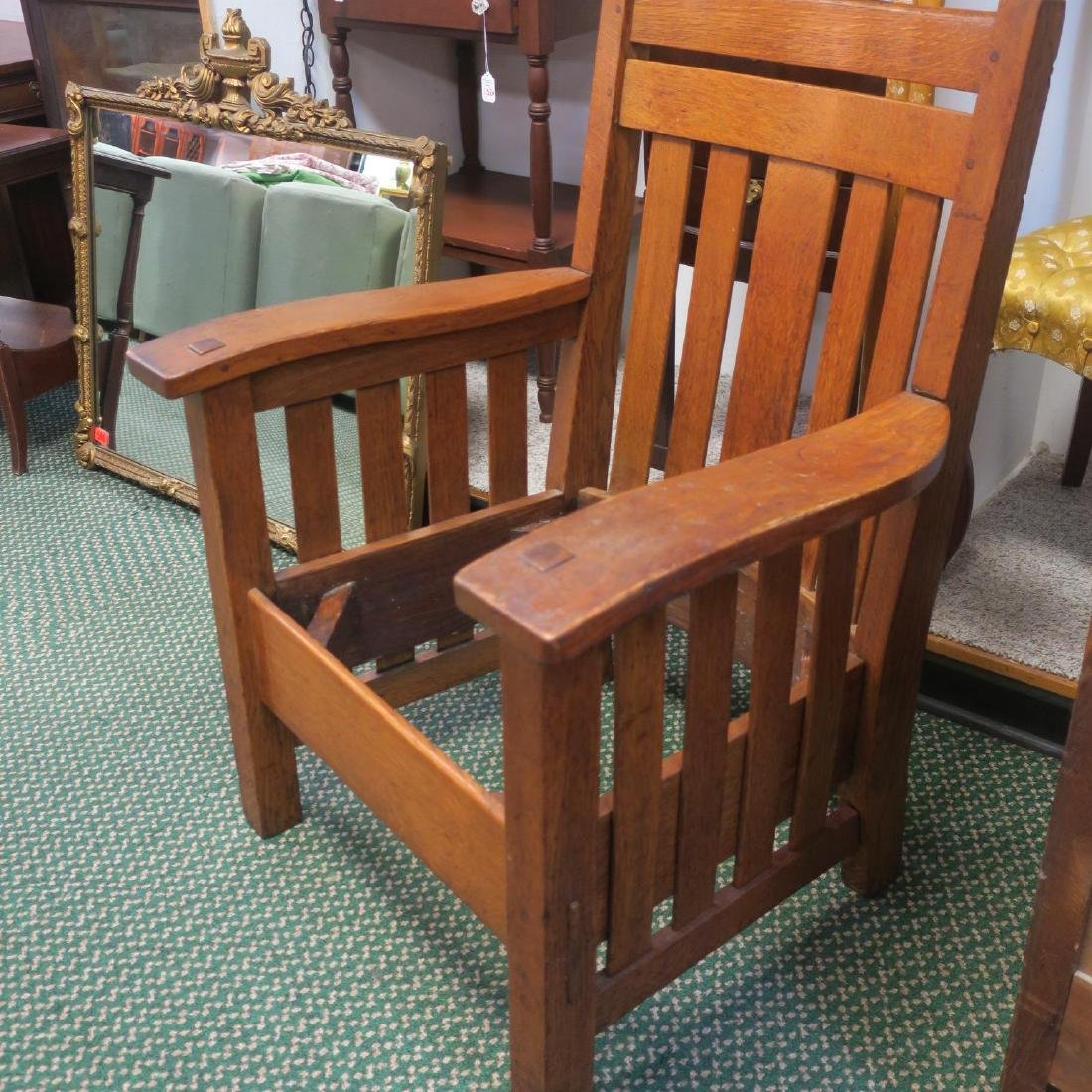 American Mission Oak Arm Chair, Leather Drop-in Seat: - 5