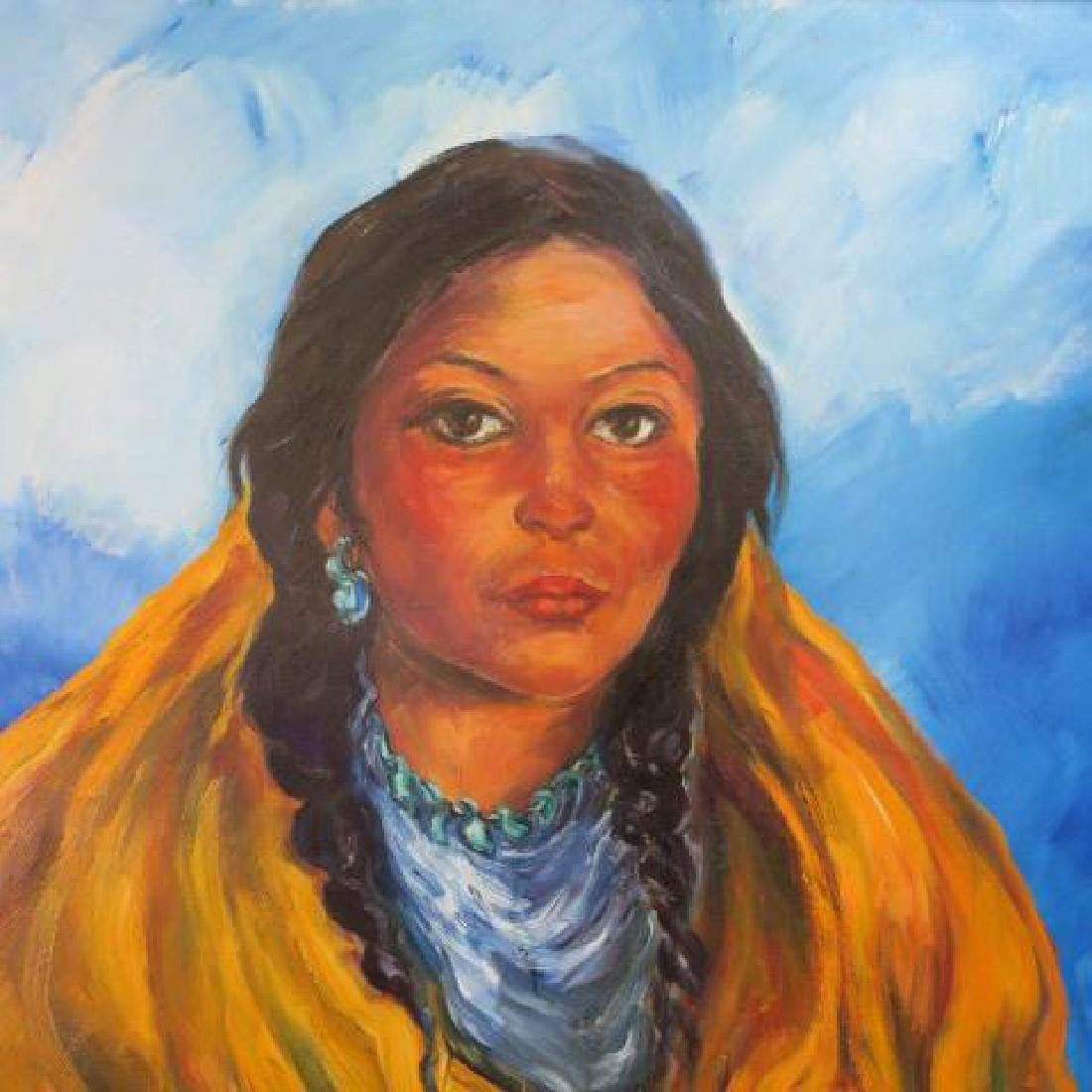 Native American Indian Girl Oil Painting, by RENATA