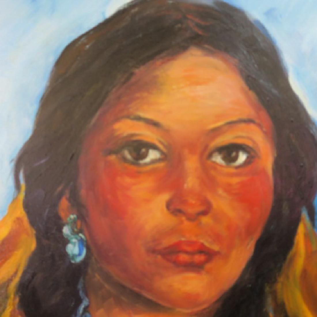 Native American Indian Girl Oil Painting, by RENATA - 2