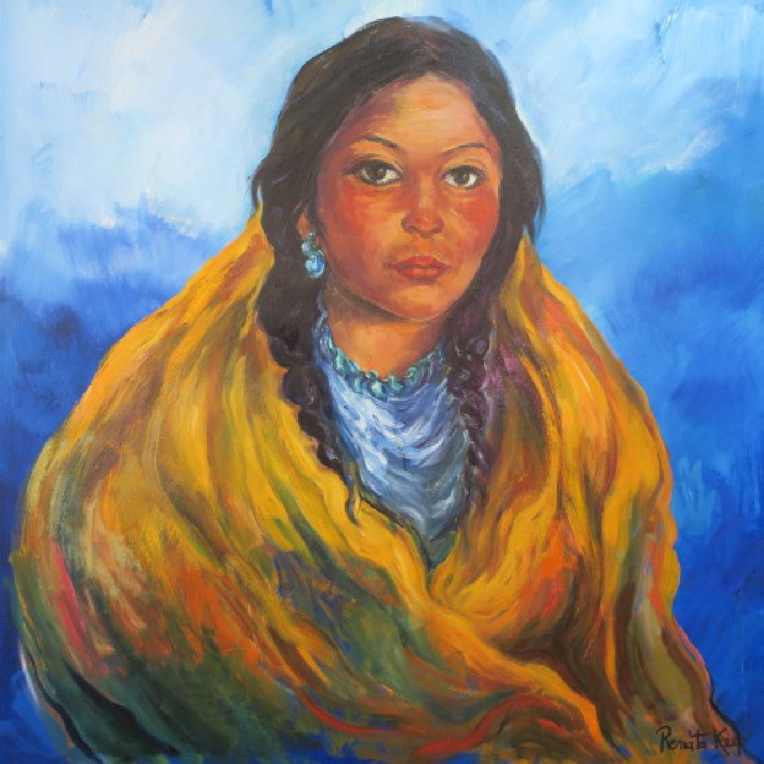 Native American Indian Girl Oil Painting, by RENATA - 4