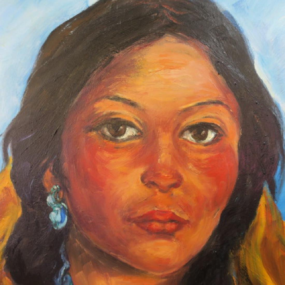 Native American Indian Girl Oil Painting, by RENATA - 5