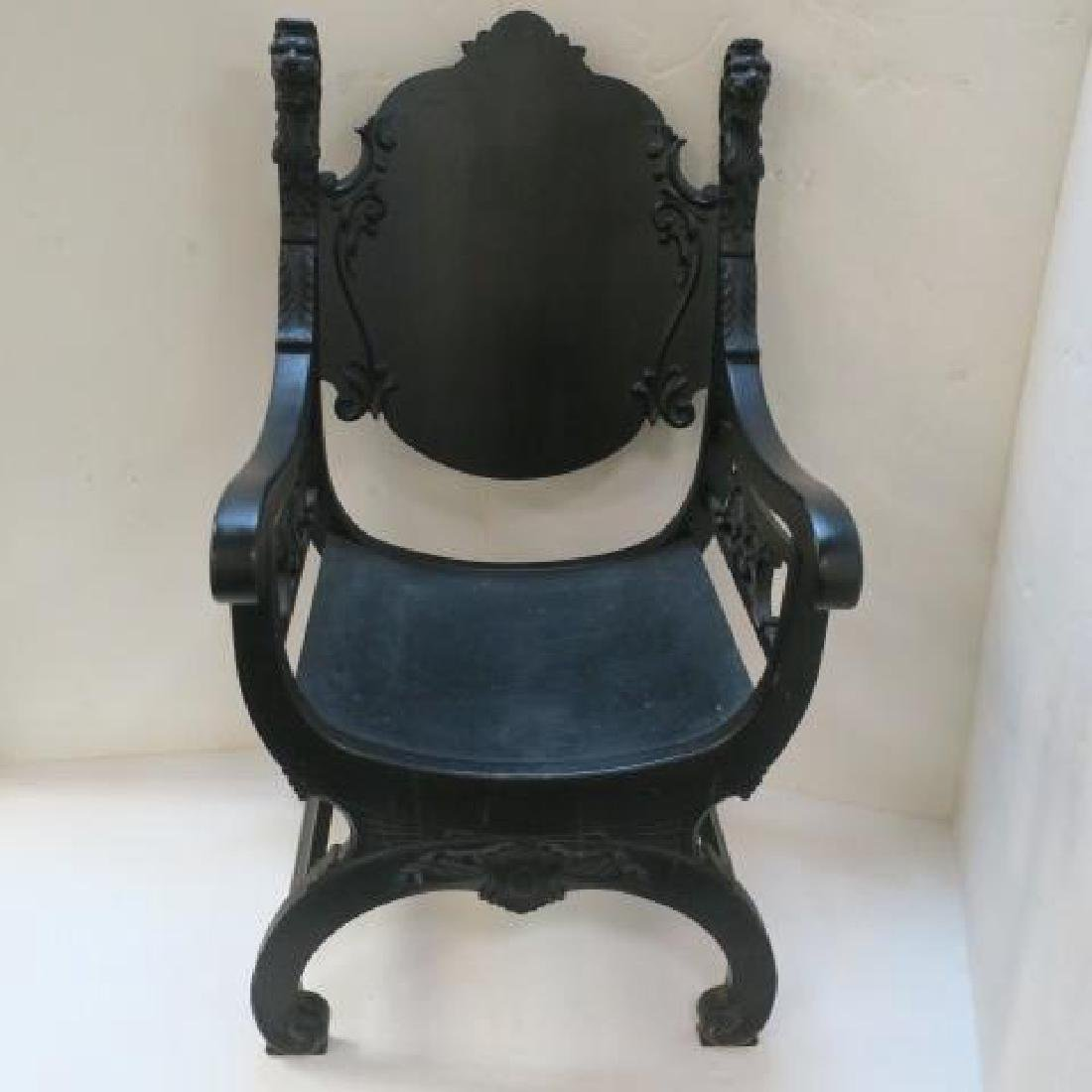 Classical Revival Carved Wooden Throne Chair:
