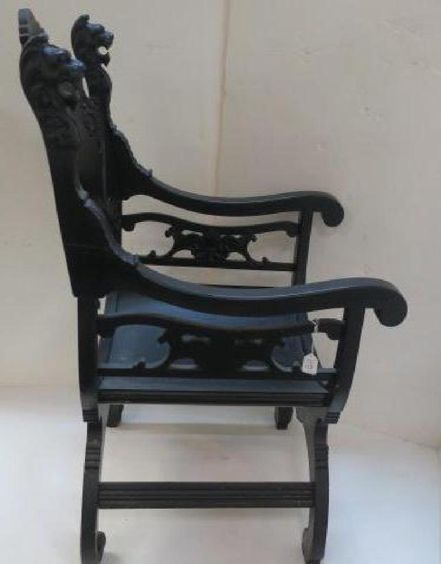 Classical Revival Carved Wooden Throne Chair: - 4