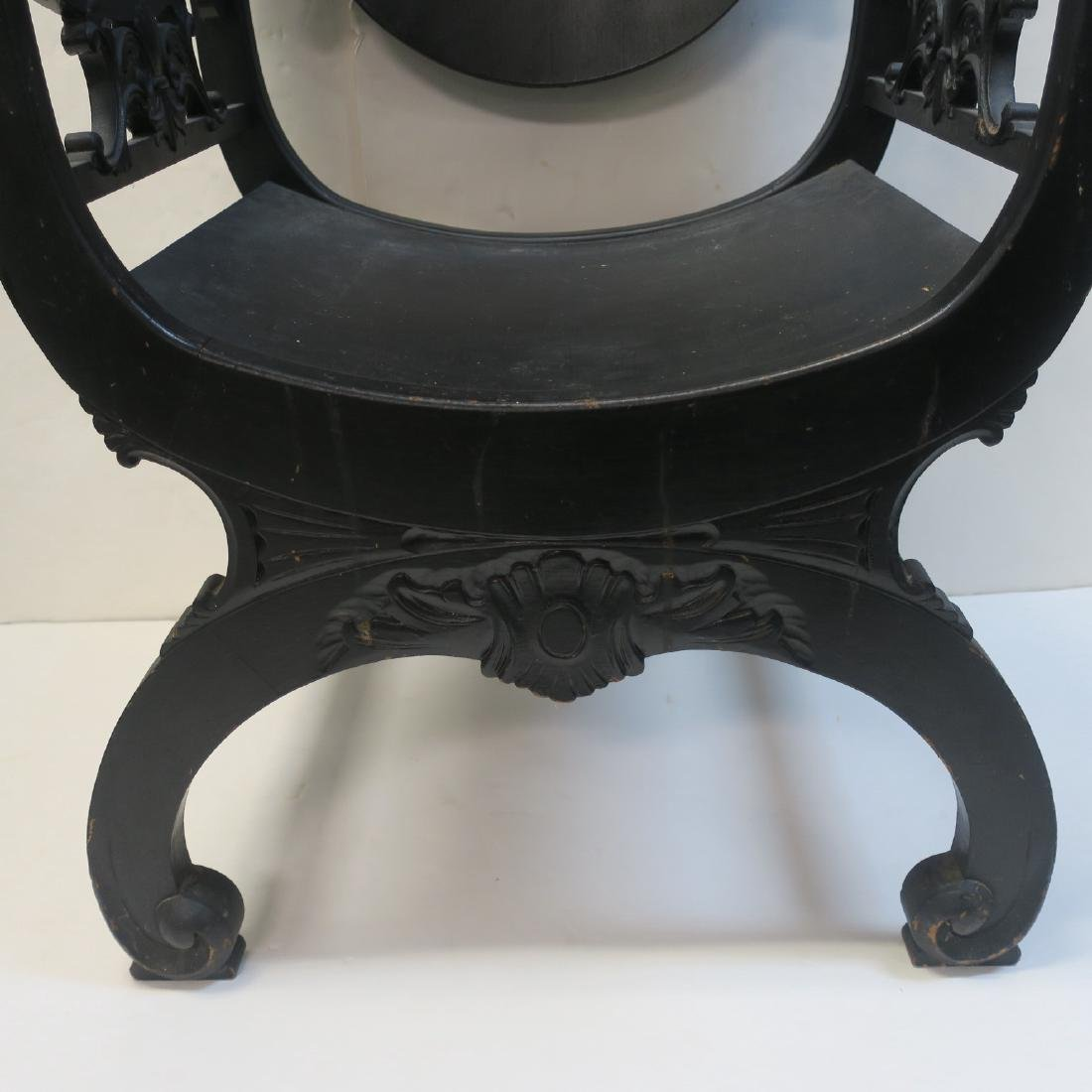 Classical Revival Carved Wooden Throne Chair: - 7