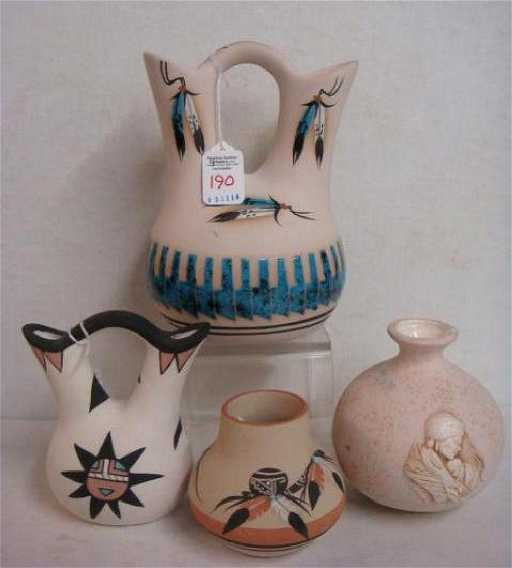 Four Native American Wedding And Other Vases