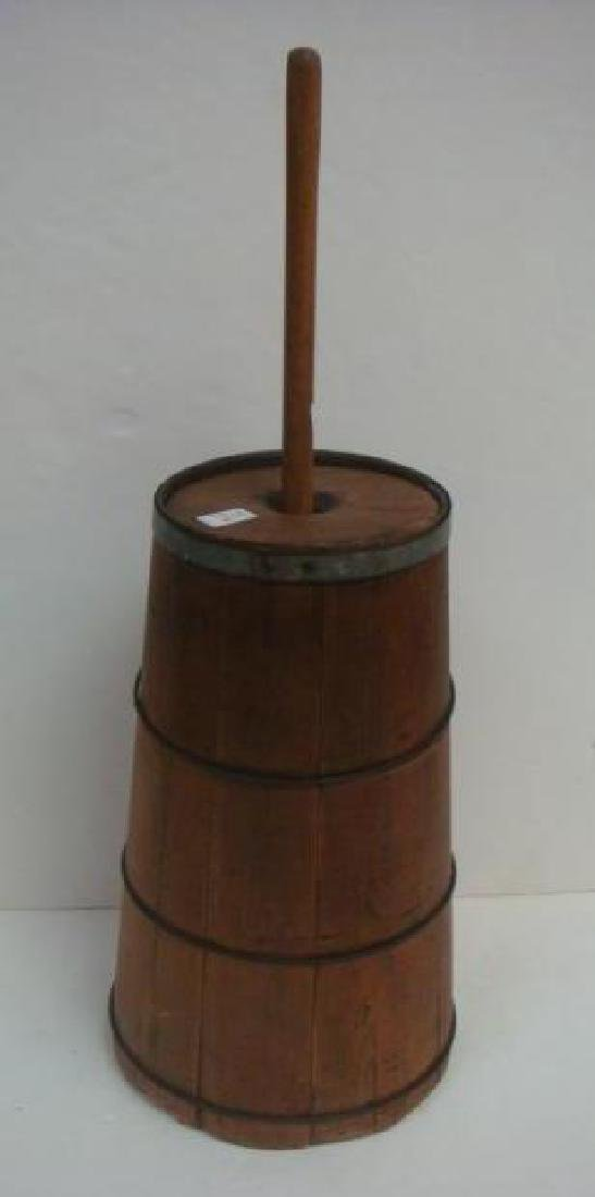 18th C. Pine Butter Churn with Dasher: