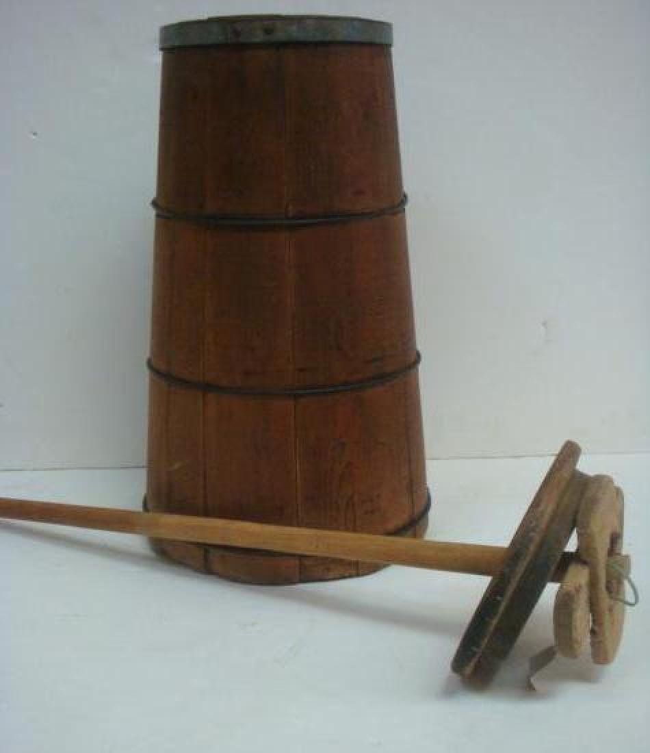 18th C. Pine Butter Churn with Dasher: - 2