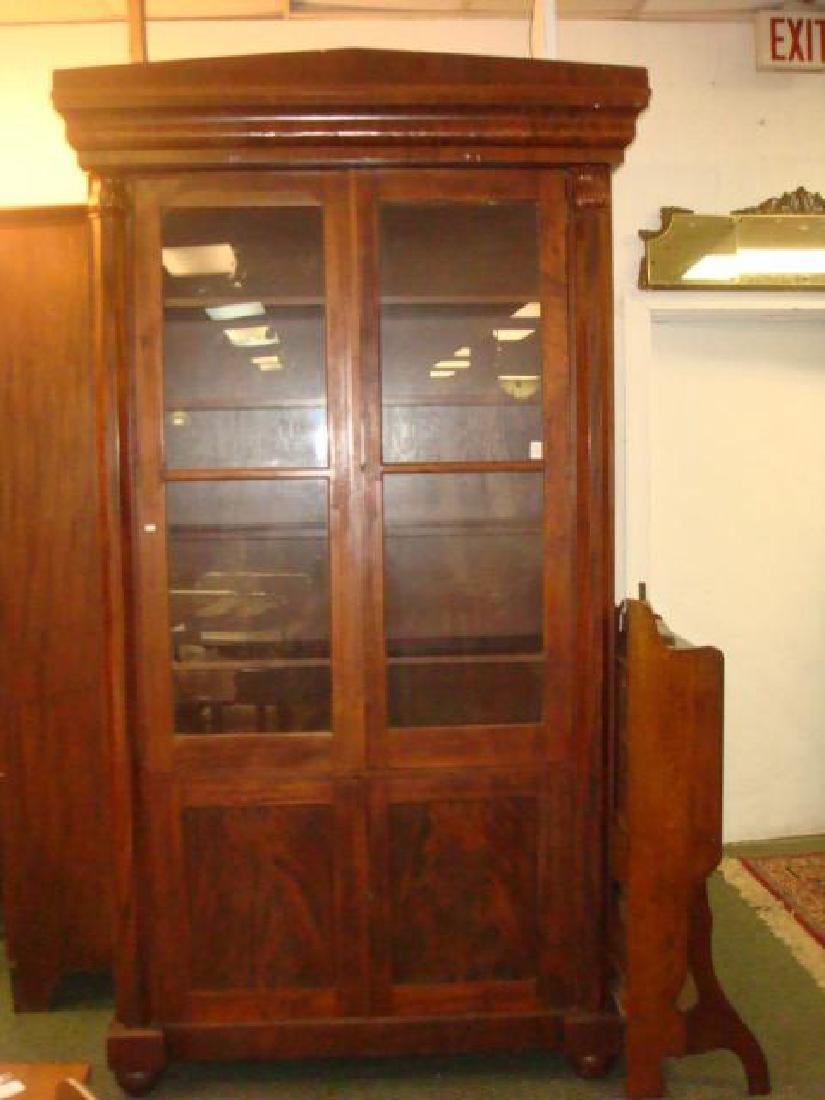 Mahogany Empire Tall Cabinet with 6 Interior Shelves: