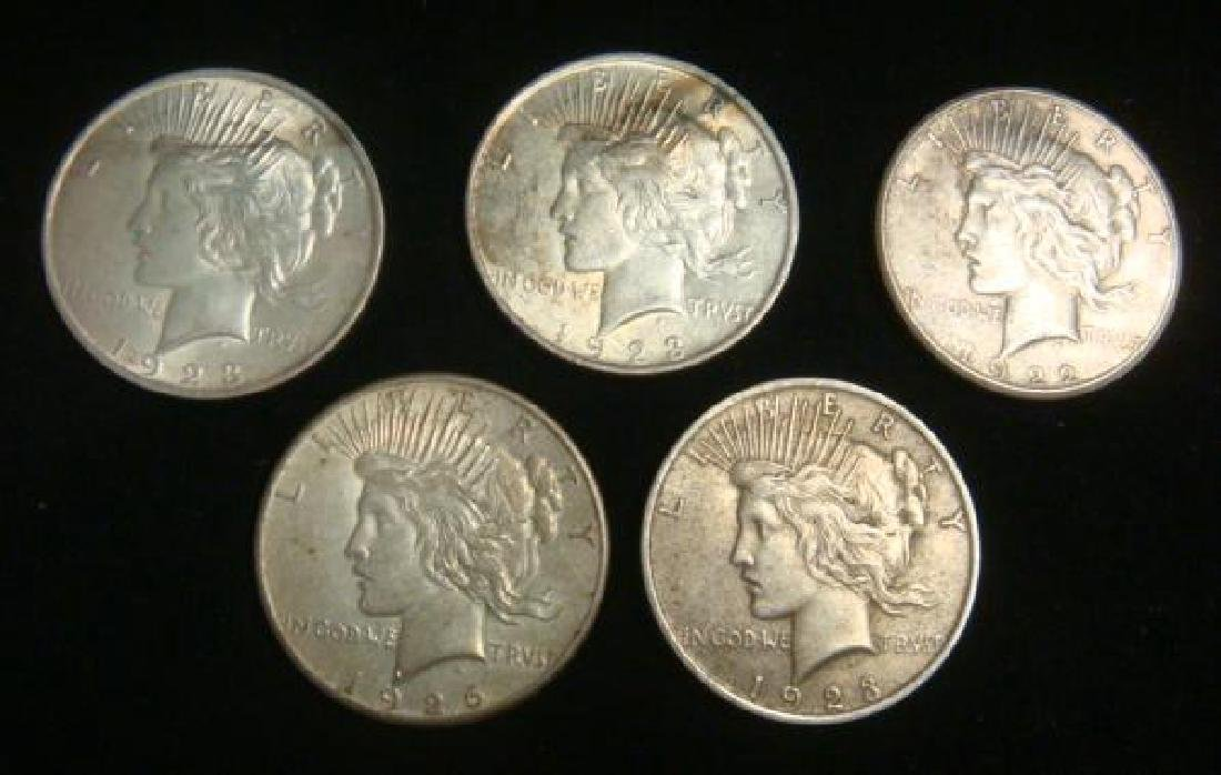 Five US PEACE SILVER DOLLARS Circulated Condition