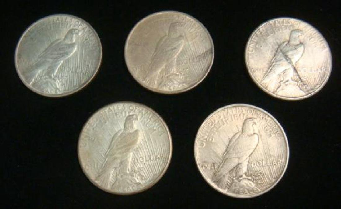Five US PEACE SILVER DOLLARS Circulated Condition - 2