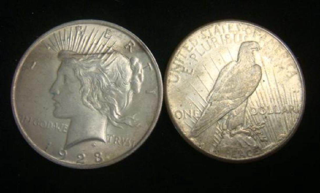 Five US PEACE SILVER DOLLARS Circulated Condition - 3