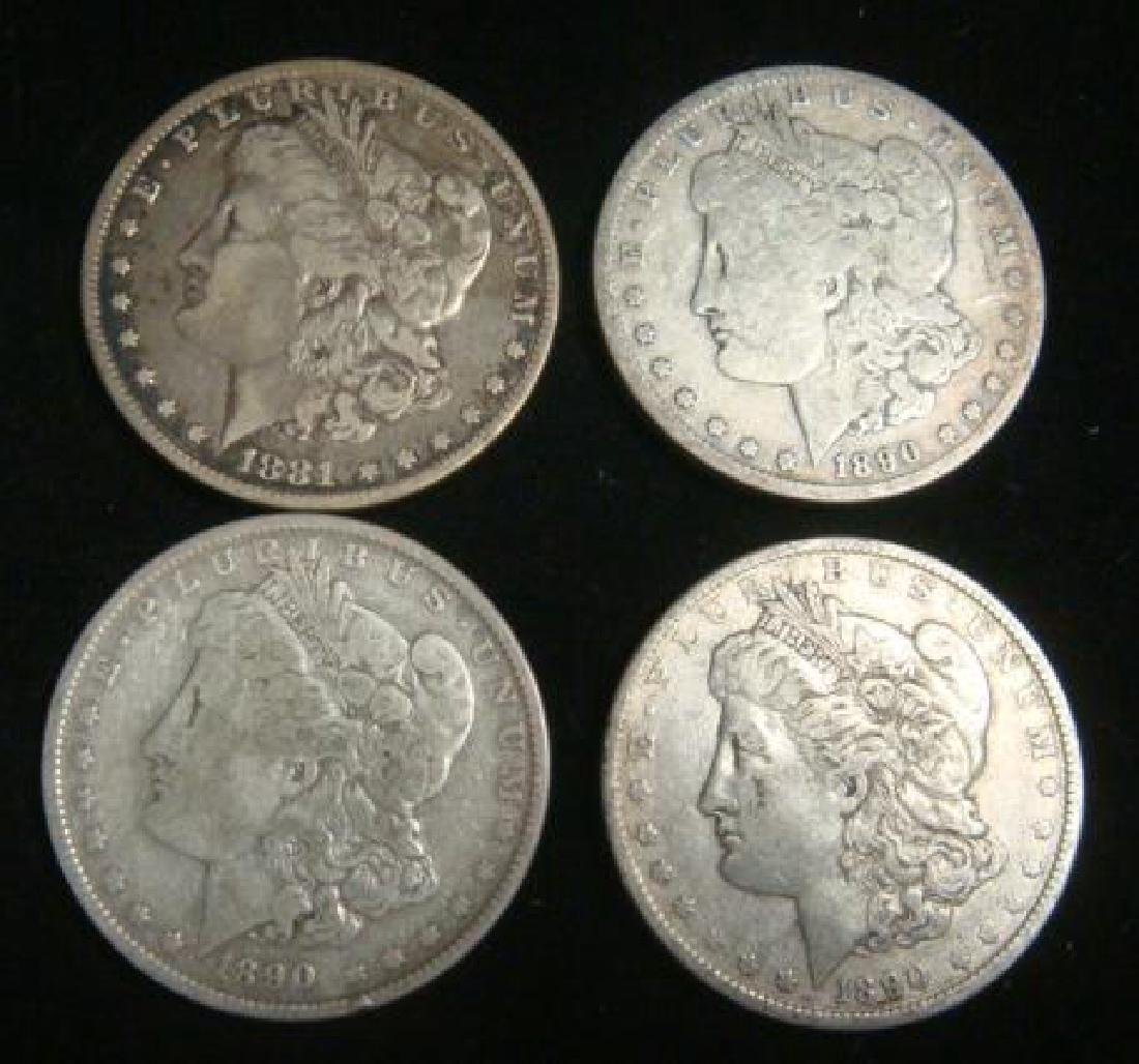 Four US MORGAN SILVER DOLLARS Circulated Condition