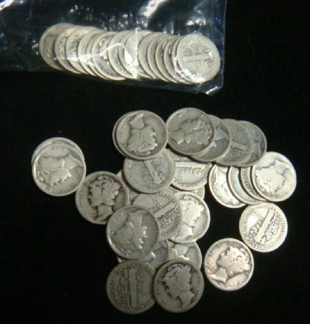 Forty One US MERCURY DIMES 1916-1929, circulated: