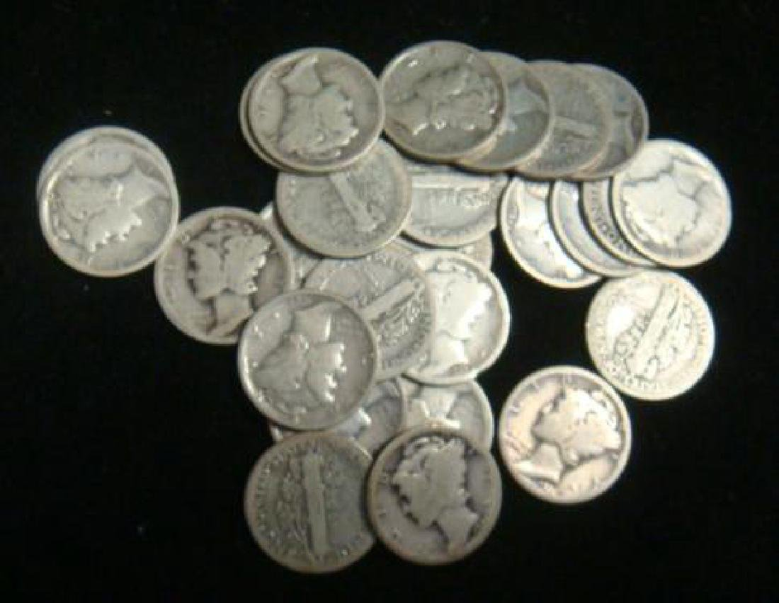 Forty One US MERCURY DIMES 1916-1929, circulated: - 2