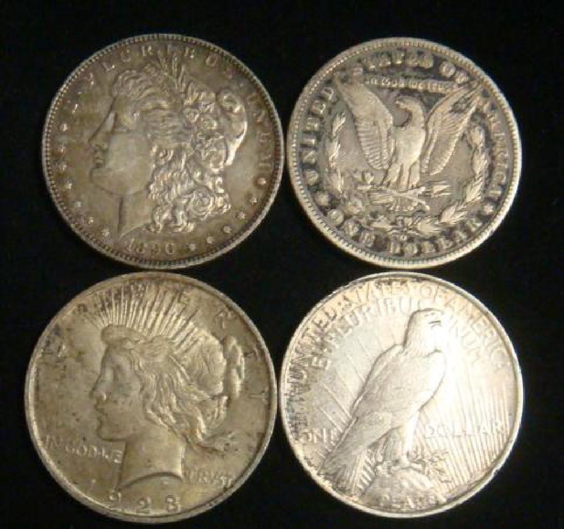 Four US SILVER DOLLARS 2 MORGANS 2 PEACE: