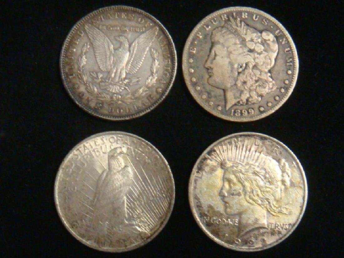 Four US SILVER DOLLARS 2 MORGANS 2 PEACE: - 3
