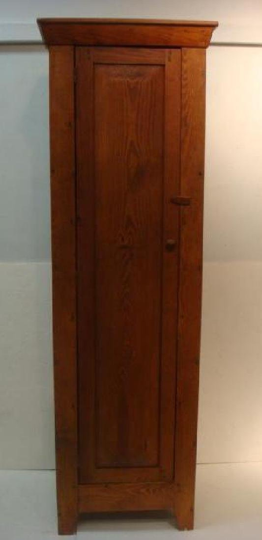 19th C. Red Pine Narrow Shelved Cabinet: