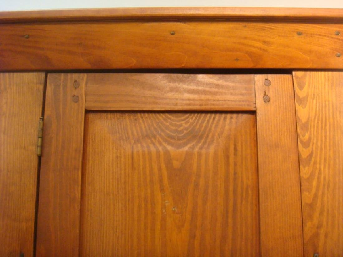 19th C. Red Pine Narrow Shelved Cabinet: - 2