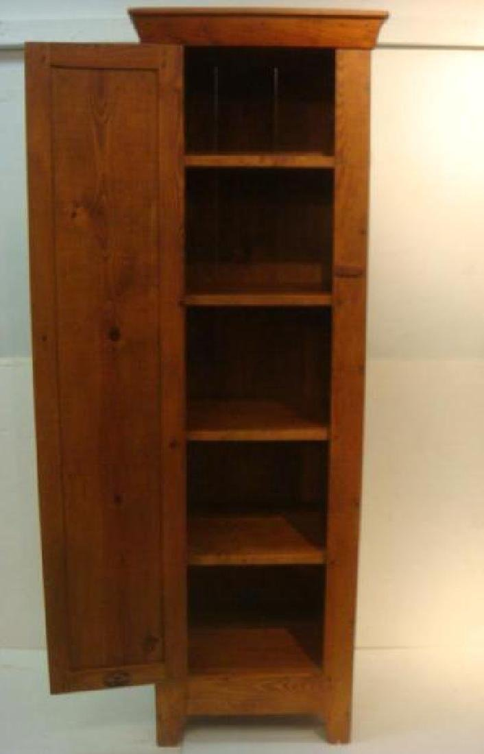 19th C. Red Pine Narrow Shelved Cabinet: - 4